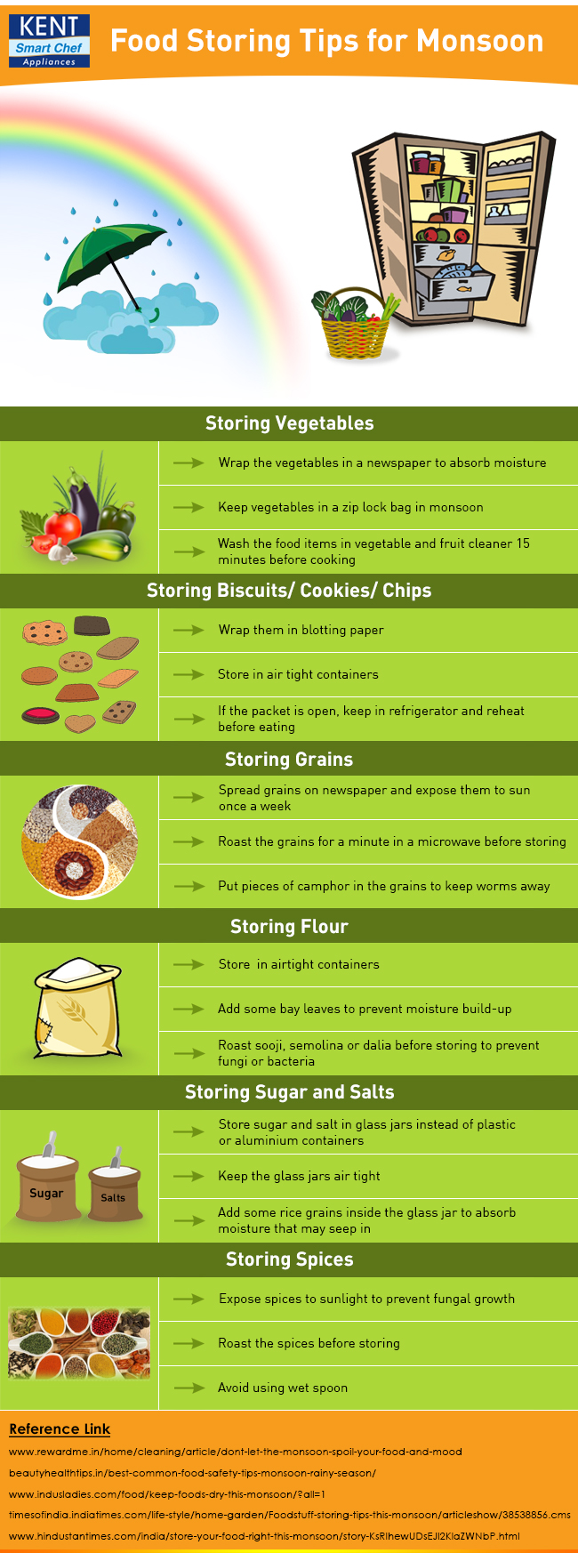 Food Storing Tips for Monsoon - Infographic