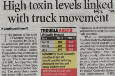 High toxin levels linked with truck movement