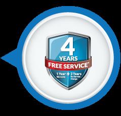 1 Year Warranty + 3 Years Free Service AMC